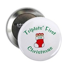 Triplets First Stocking Button