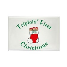 Triplets First Stocking Rectangle Magnet