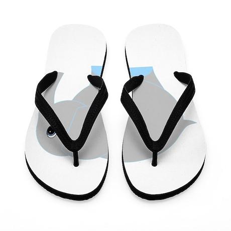 Blue and Grey Elephant Flip Flops