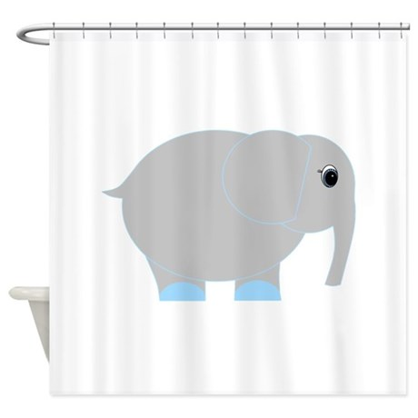 Blue And Grey Elephant Shower Curtain By Beachbumming