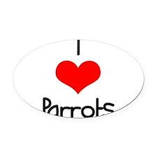 i-heart-parrots.png Oval Car Magnet