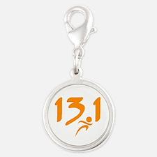 Orange 13.1 half-marathon Silver Round Charm