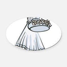 hat-and-veil.png Oval Car Magnet