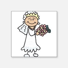 "cartoon-bride.png Square Sticker 3"" x 3"""