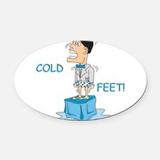 COLDFEET2.png Oval Car Magnet