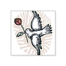 """dove-n-rose.png Square Sticker 3"""" x 3"""""""
