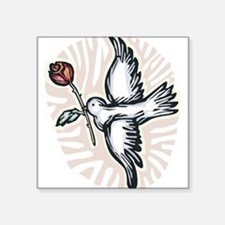 "dove-n-rose.png Square Sticker 3"" x 3"""