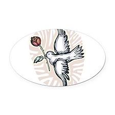 dove-n-rose.png Oval Car Magnet