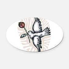 dove-n-rose.png Oval Car Magnet