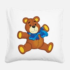 bluebow-teddy.png Square Canvas Pillow
