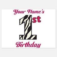 1st Birthday Zebra - Personalized! Flat Cards