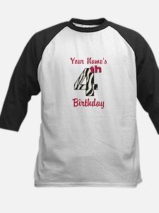 4th Birthday Zebra - Personalized! Baseball Jersey