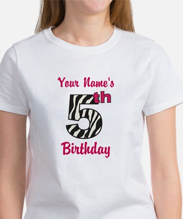 5th Birthday Zebra - Personalized! T-Shirt