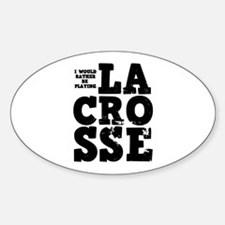 'Playing Lacrosse' Sticker (Oval)