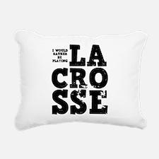 'Playing Lacrosse' Rectangular Canvas Pillow