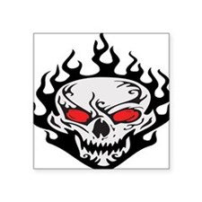 "flaming-skull,black.png Square Sticker 3"" x 3"""