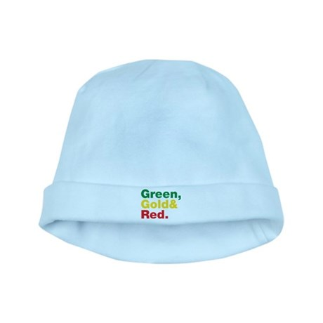 Green, Gold and Red. baby hat