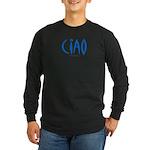 Ciao (Blue) - Long Sleeve Black T-Shirt