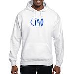 Ciao (Blue) - White Hooded Sweatshirt
