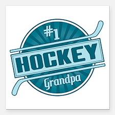 "#1 Hockey Grandpa Square Car Magnet 3"" x 3"""