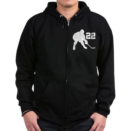 Hockey Player Number 22 Zip Hoodie (dark)