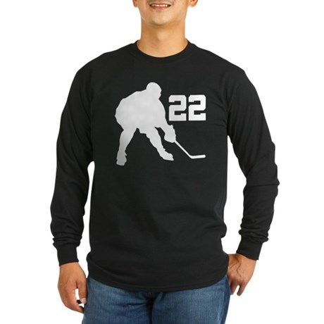 Hockey Player Number 22 Long Sleeve Dark T-Shirt