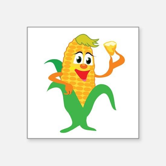 """corn,corny1.png Square Sticker 3"""" x 3"""""""