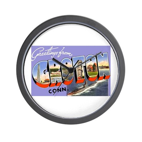 Groton Connecticut Greetings Wall Clock By W2arts