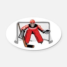 puck-stops-here.png Oval Car Magnet