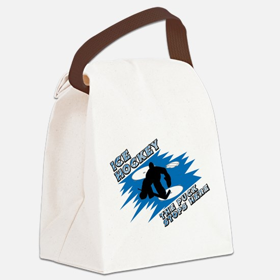 puck stops here.jpg Canvas Lunch Bag