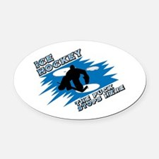 puck stops here.jpg Oval Car Magnet