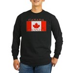Canada Canadian Flag Long Sleeve Black T-Shirt
