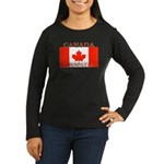 Canadian Flag Women's Long Sleeve Black T-Sh