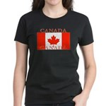 Canada Canadian Flag Women's Black T-Shirt