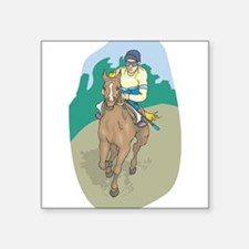 "horse racing 2.jpg Square Sticker 3"" x 3"""