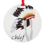 indian head dress,chief.jpg Round Ornament