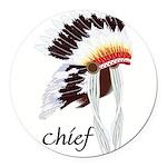 indian head dress,chief.jpg Round Car Magnet