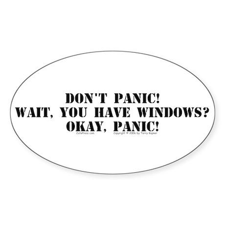 Don't Panic! Oval Sticker