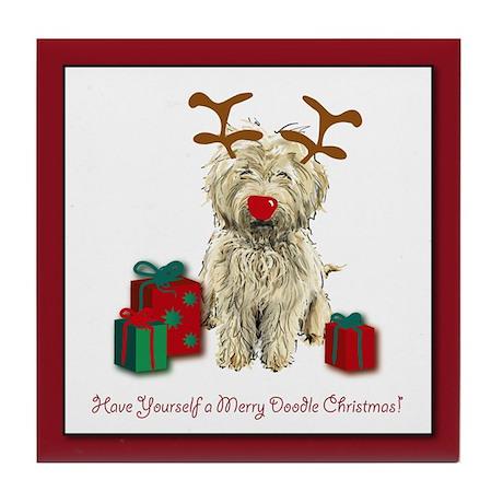 Merry Doodle Christmas Tile Coaster