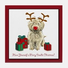 Merry Doodle Christmas Tile Coaster