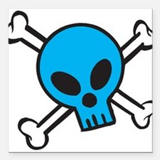 "blue-skull-and-bones.png Square Car Magnet 3"" x 3"""