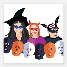 """trick-or-treaters.png Square Car Magnet 3"""" x 3"""""""