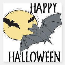 "bats,happy-halloween.png Square Car Magnet 3"" x 3"""