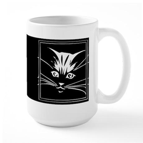 White Cat Face Large Mug