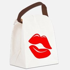 Red Kissy Lips Canvas Lunch Bag