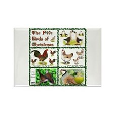 Christmas Birds Rectangle Magnet