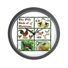 Christmas Birds Wall Clock