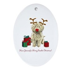 Merry Doodle Christmas Oval Ornament