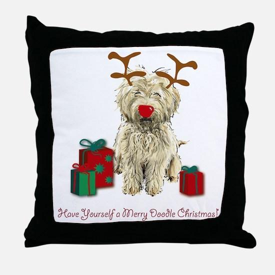 Merry Doodle Christmas Throw Pillow