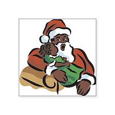 "black-santa,oval.png Square Sticker 3"" x 3"""